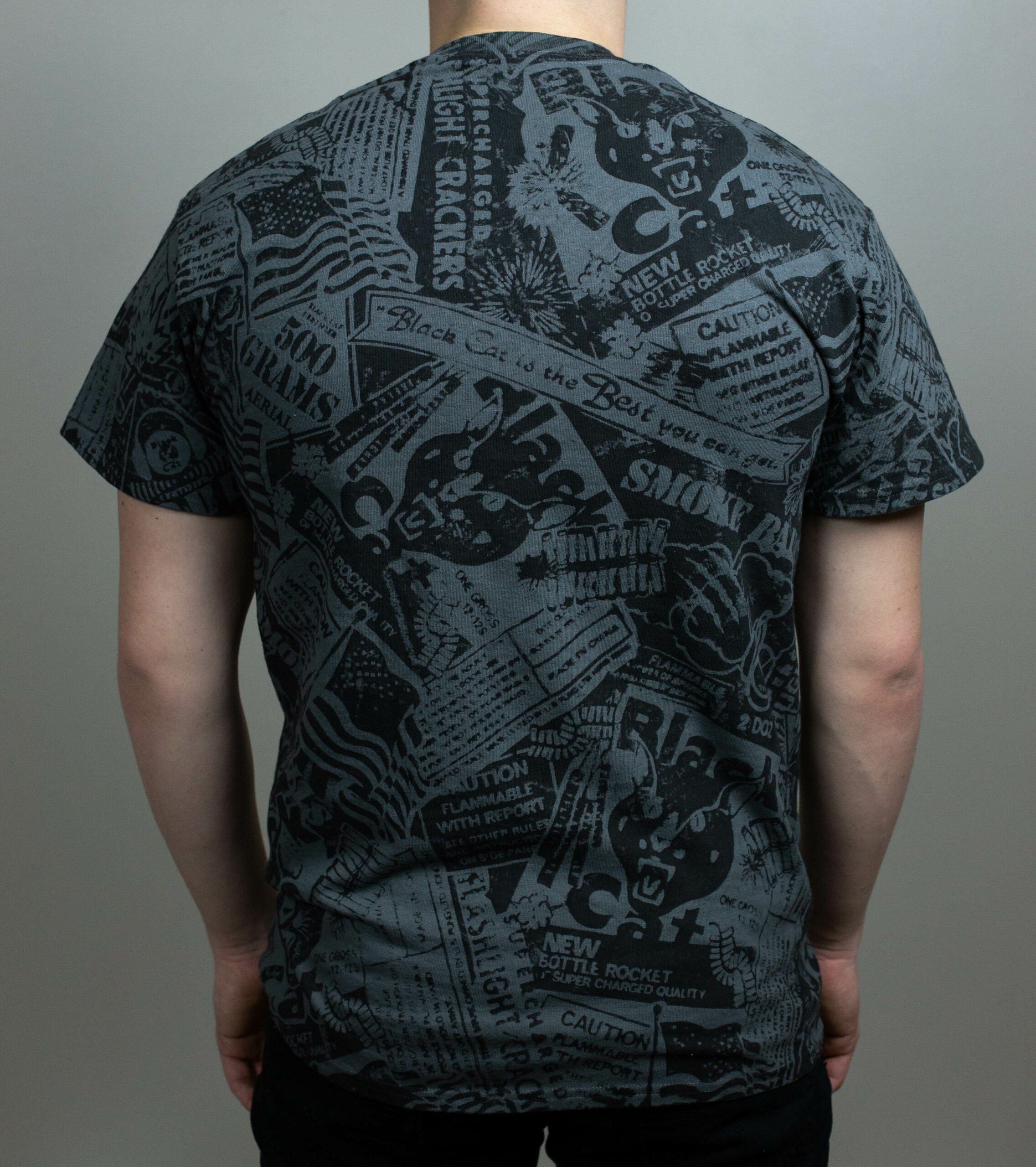 Black Cat All Over Print T-Shirt Back