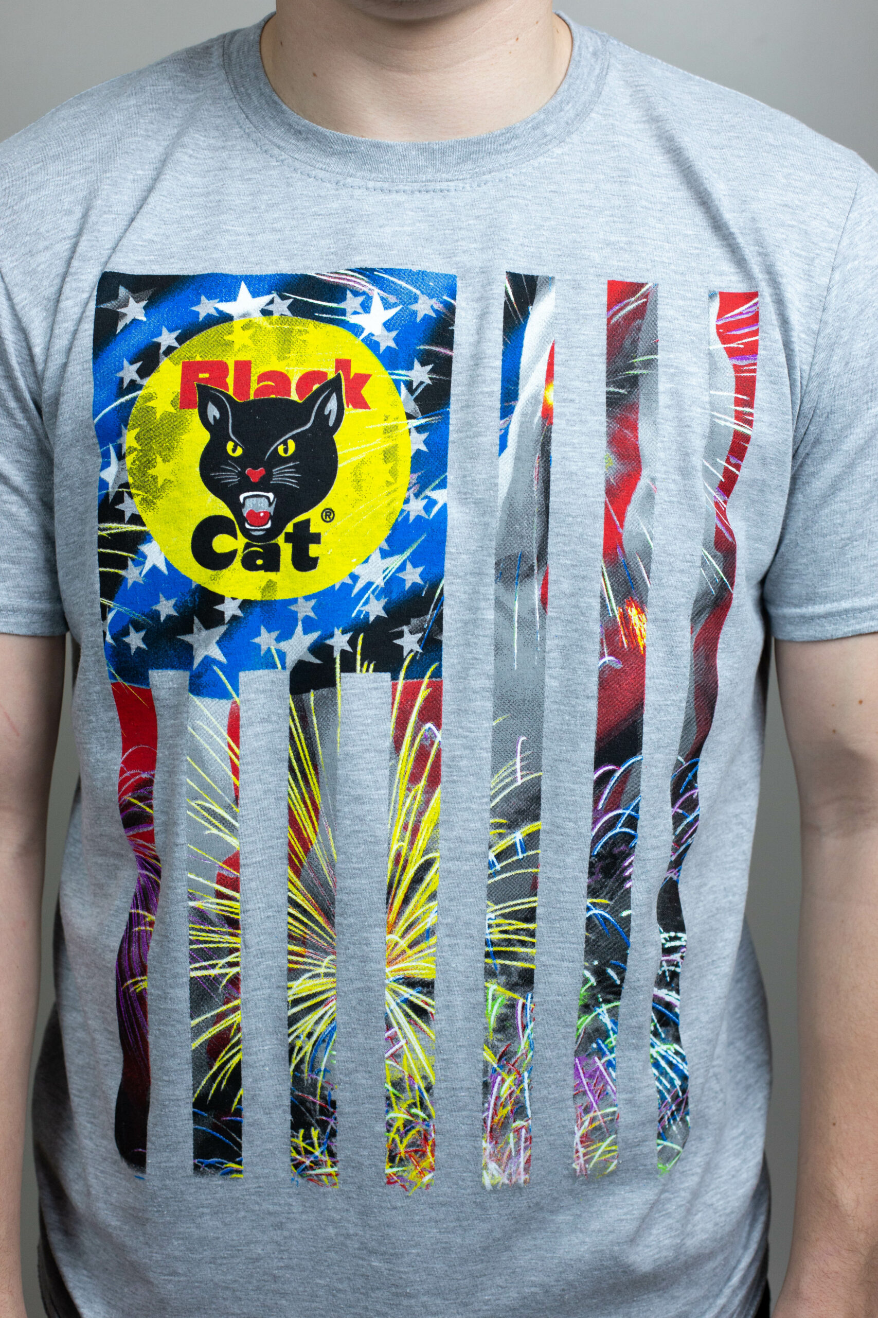 Black Cat Gray Patriotic T-Shirt