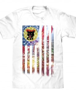 Black Cat White Patriotic T-Shirt