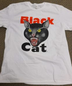 Black Cat White Logo Tee